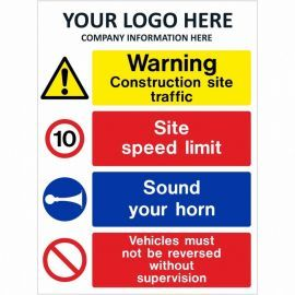 Warning Construction Site Traffic Multi Message Safety Board