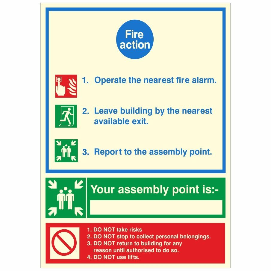 Writable Assembly Point 3 step Fire Action Notice