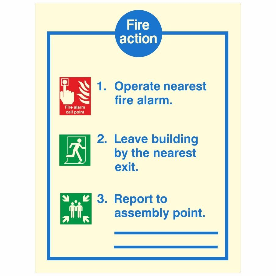 In case of a Fire Action Notice Sign