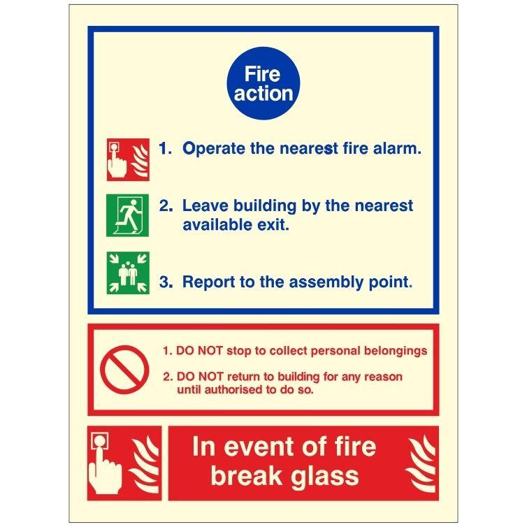 Break Glass Fire Action Notice
