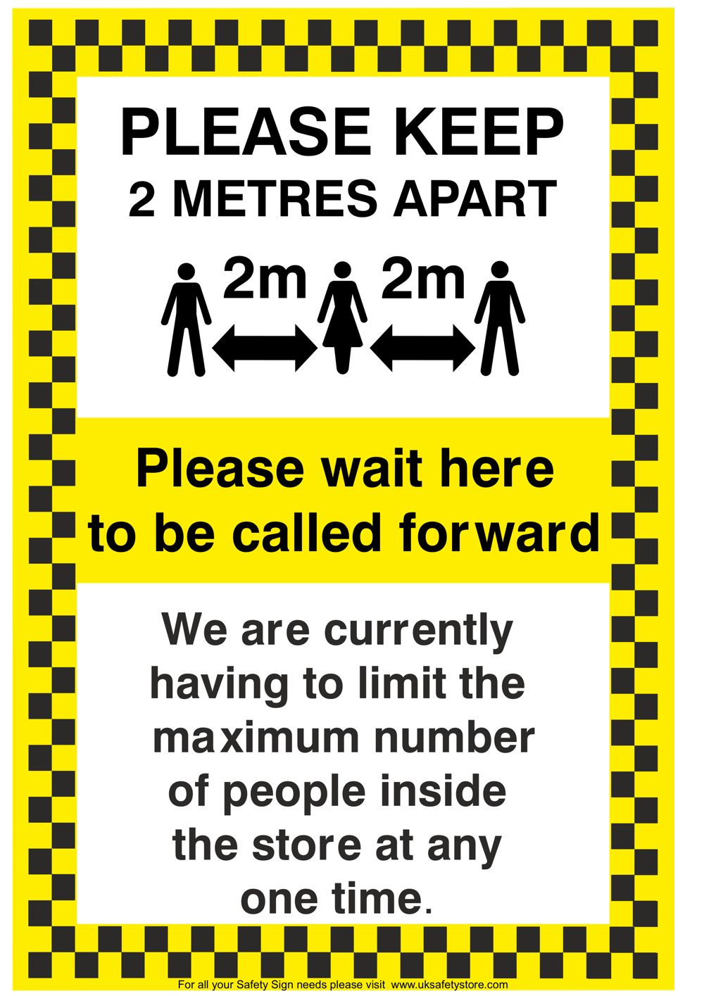 Free Social Distancing Sign Template - Please Wait Here to be Called Sign