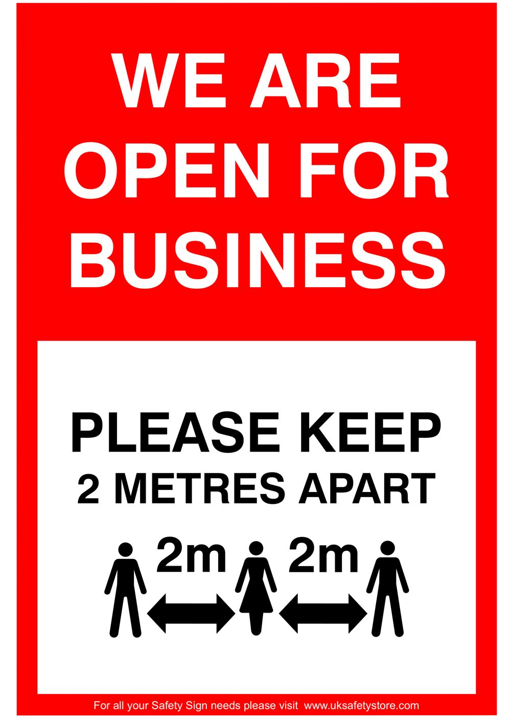 Free Social Distancing Sign Template - We are open for business Sign