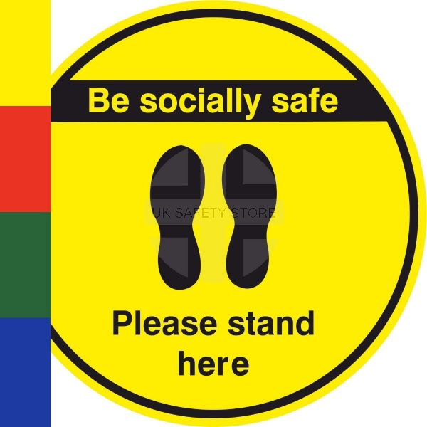 Arrow Please Stand Here 1m Metre Apart Social Distancing Stickers Floor Safety