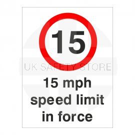 15MPH Speed Limit In Force Sign