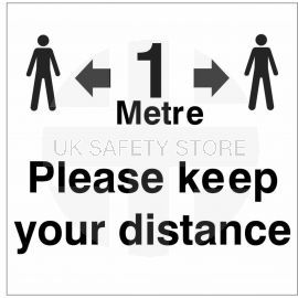 Please Keep Your Distance Helmet Sticker - 1 Metre