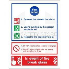 3 Point Fire Action Notice Sign - In Event Of Fire Break Glass