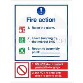 3 Point Fire Action Notice Sign - Raise The Alarm (Writable)