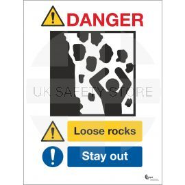Danger Loose Rocks Sign - Stay Away