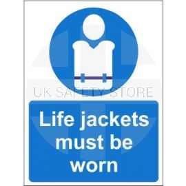 Life jackets must be worn sign in a variety of sizes and materials with or without your logo