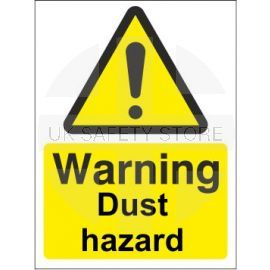 Warning dust hazard sign in a variety of sizes and materials with or without your logo
