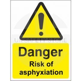 Danger risk of asphyxiation sign in a variety of sizes and materials with or without your logo