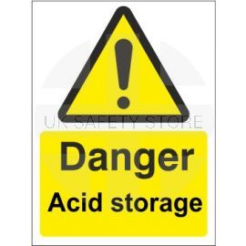 Danger acid storage sign in a variety of sizes and materials with or without your logo