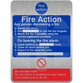 Brushed Aluminium Effect 6 Point Fire Action Notice Sign - Any Person Discovering a Fire