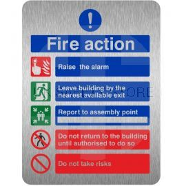 Brushed Aluminium Effect Raise The Alarm Fire Action Notice Sign