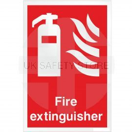 Brushed Aluminium Effect Fire Extinguisher Sign