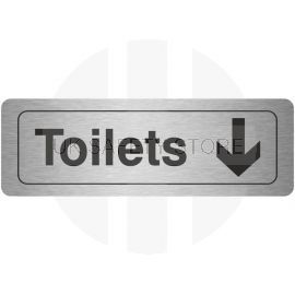 Toilets Arrow Down Aluminium Door Sign