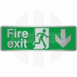 Fire Exit Arrow Down Brush Aluminium Effect Prestige Sign