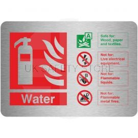 Brushed Aluminium Effect Water Fire Identification Sign 150mm x 100mm