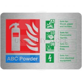 Brushed Aluminium Effect ABC Powder Fire Identification Sign 150mm x 100mm