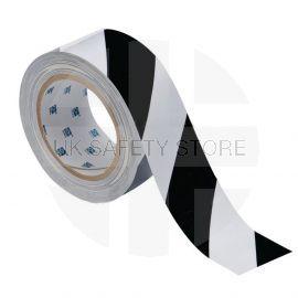 Black And White Hazard Floor Marking Tape - 50mm x 33m