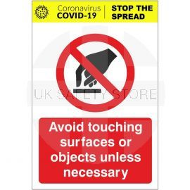 Avoid Touching Surfaces Or Objects Unless Necessary Sign