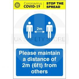 Please Maintain A Distance Of 2m From Others Covid 19 Sign