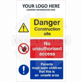 Danger Construction Site No Unauthorised Access Multi Message Safety Board
