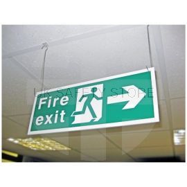 Fire Exit Sign - Left/Right (Hanging Sign) - Complete With 2 Hooks And 2 Clips