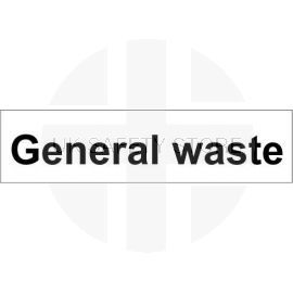 General waste 600w x 150hmm door sign in rigid plastic