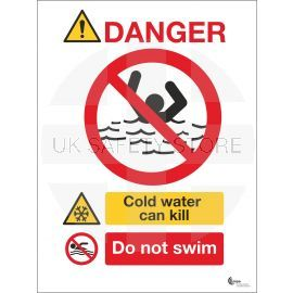 Danger Deep Cold Can Kill Sign - Do Not Swim