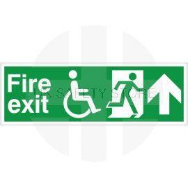 Refuge Fire Exit Arrow Up Sign