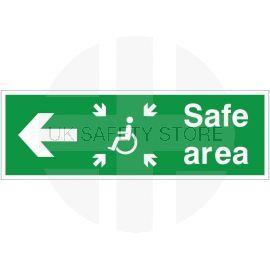 Refuge Safe Area Arrow Left Sign