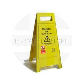 Caution Hilti Guns In UseCustom Made A Board Freestanding Sign 600mm