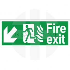 Hospital Compliant Fire Exit Arrow Down Left Sign