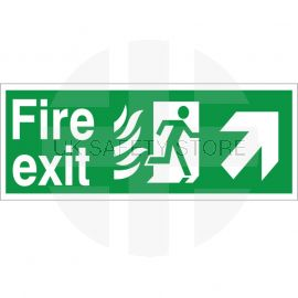 Hospital Compliant Fire Exit Arrow Up Right Sign