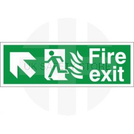 Hospital Compliant Fire Exit Arrow Up Left Sign