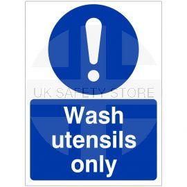 Wash Utensils Only Hygiene Sign