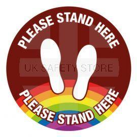 Please Stand Here School Floor Graphic Sign (Brown)