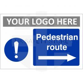 Pedestrian Route Arrow Right Custom Logo Sign
