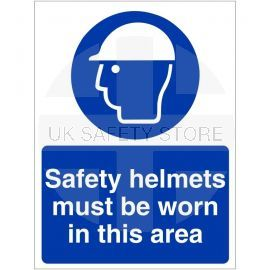 Safety Helmets Must Be Worn In This Area Sign