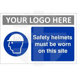Safety Helmets Must Be Worn On This Site Custom Logo Sign