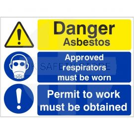 Danger Asbestos Approved Respirators Must Be Worn Permit To Work Must Be Obtained Multi Message Sign