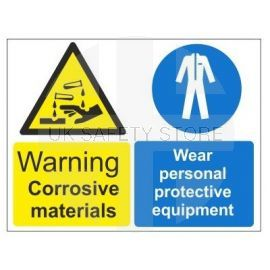 Warning corrosive material wear personal protective equipment multi message sign in a variety of sizes and materials
