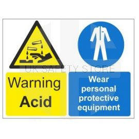 Warning acid wear personal protective equipment multi message sign in a variety of sizes and materials