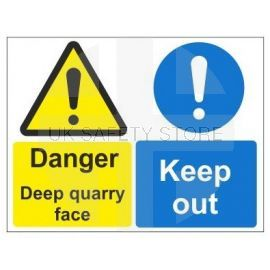 Danger deep quarry face keep out multi message sign in a variety of sizes and materials