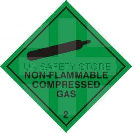 Non Flammable Compressed Gas Sign Sticker 100Wmm x 100Hmm