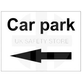 Car park left arrow sign in a variety of sizes and materials