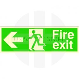 Extra Large Glow in the Dark Fire Exit Left Sign 900mm x 300mm - Rigid Plastic