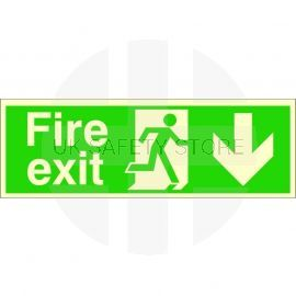 Extra Large Glow in the Dark Fire Exit Down Sign 900mm x 300mm - Rigid Plastic