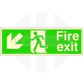 Glow In The Dark Fire Exit Arrow Down Left Sign